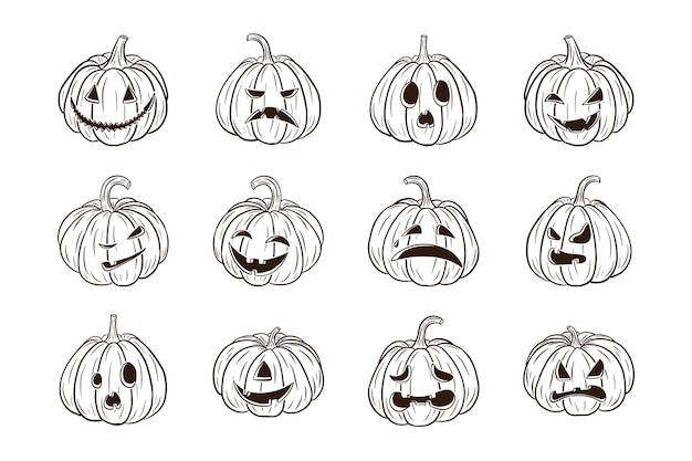 Halloweenowe straszne dynie z kolekcją twarzy. zestaw ilustracji dyni jack lantern na jesienne kartki z życzeniami, zaproszenia, projektowanie opakowań, ozdoba. wektor premium