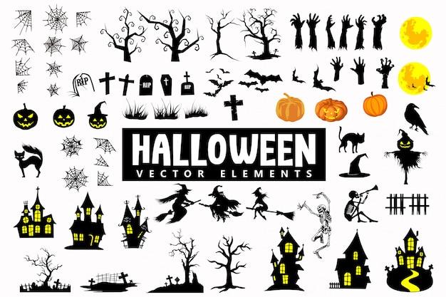 Halloweenowe sylwetki ikon wektorowych elementów