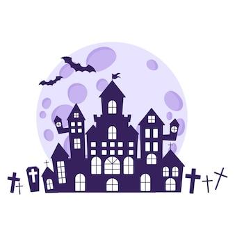 Halloweenowe sylwetki średniowiecznego nawiedzonego zamku na cmentarzu na tle księżyca w pełni i nietoperzy. tradycyjny symbol halloween i element dekoracyjny. ilustracja kreskówka na białym tle wektor