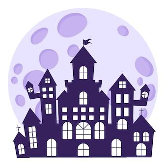 Halloweenowe sylwetki średniowiecznego nawiedzonego zamku na tle księżyca w pełni.