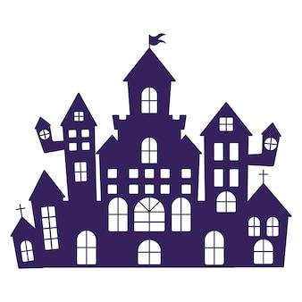 Halloweenowe sylwetki średniowiecznego nawiedzonego zamku.