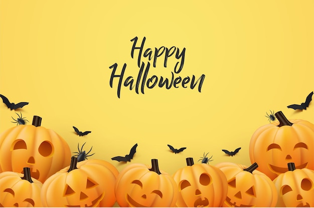 Halloweenowe tło w płaskiej konstrukcji z dynią i nietoperzem