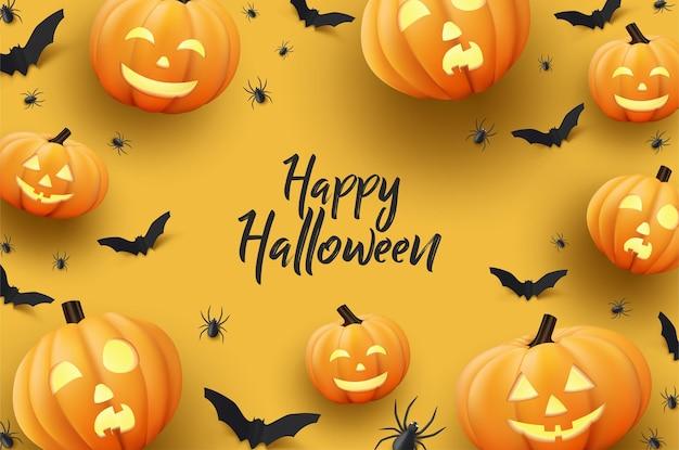 Halloweenowe tło w płaskiej konstrukcji
