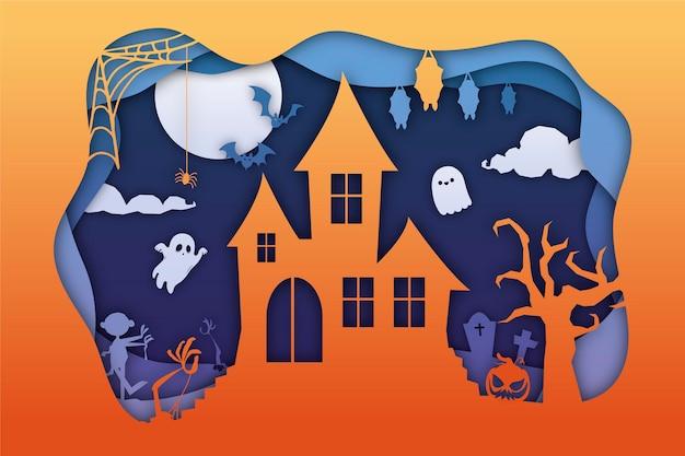 Halloweenowe tło w stylu papieru