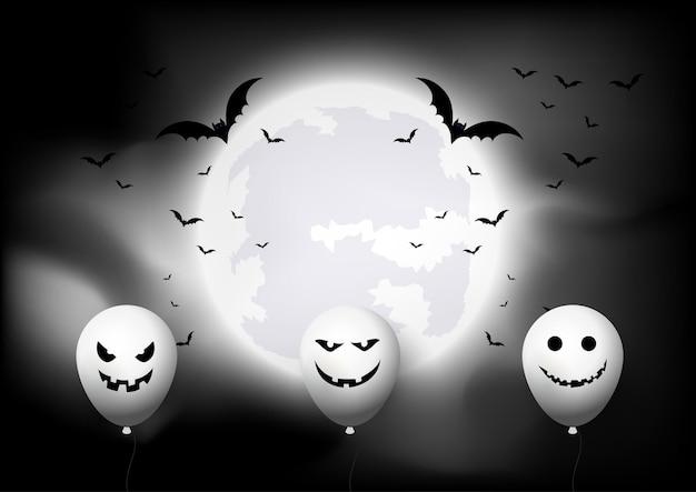 Halloweenowe tło z balonami i nietoperzami na tle księżycowego krajobrazu 0309
