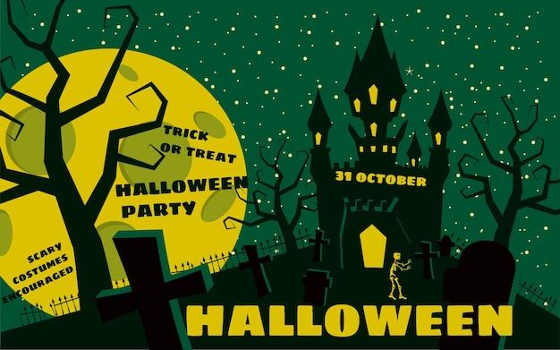 Halloweenowe tło z cmentarzem i szkieletem nawiedzonym zamkowym domem i pełnią księżyca