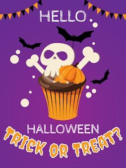 Halloweenowe tło z cukierek albo psikus? tekst.