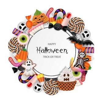Halloweenowe tło z cukierkami, babeczkami i ciasteczkami