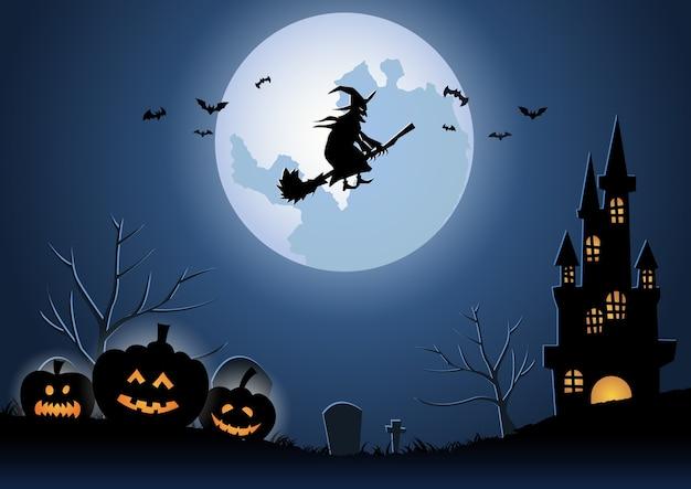 Halloweenowe tło z czarownicą lecącą magiczną miotłą