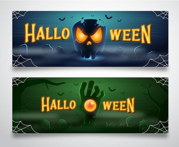Halloweenowe tło z czaszką i ręką zombie