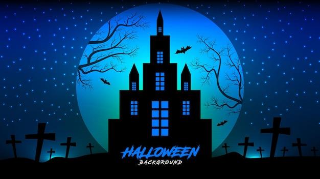 Halloweenowe tło z polowanym domem i drzewami