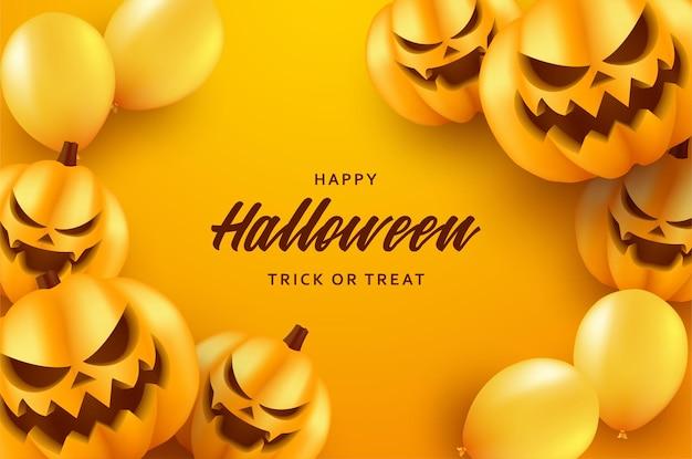 Halloweenowe tło z przerażającą uśmiechniętą dynią