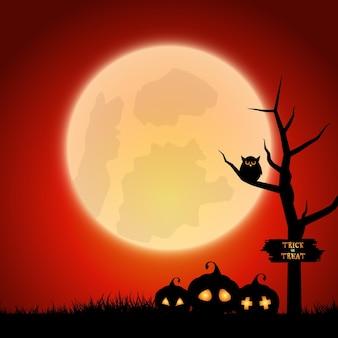 Halloweenowe tło z upiornym krajobrazem z dyniami i sową na drzewie