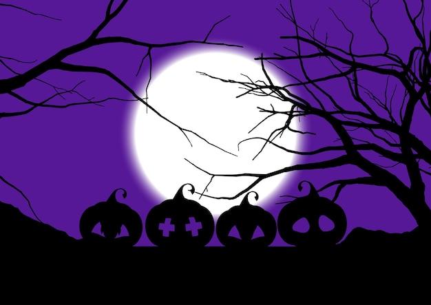 Halloweenowe tło z upiornymi dyniami i drzewami
