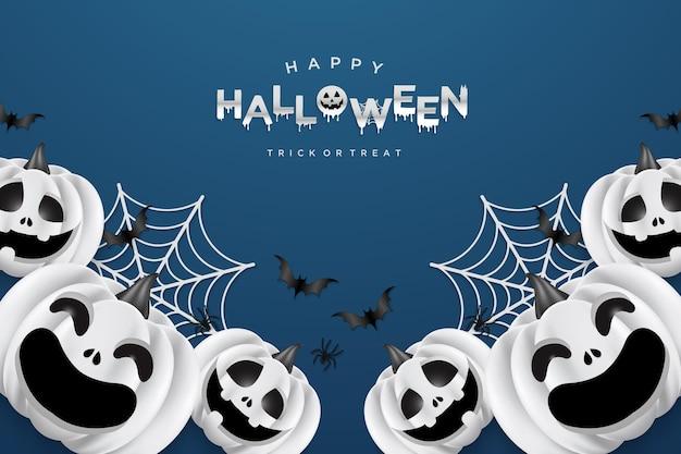 Halloweenowe tło z uśmiechniętymi dyniami i pajęczynami