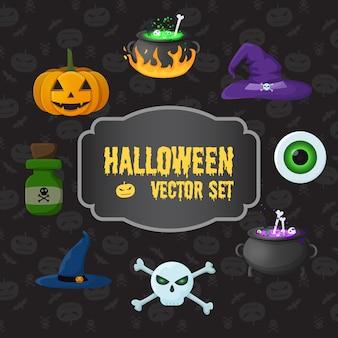 Halloweenowe tradycyjne elementy zestaw z dyni czaszki skrzyżowane piszczele butelka trucizny wiedźmy kapelusze oko kociołki z miksturą
