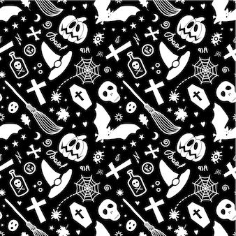 Halloweenowe tradycyjne upiorne przedmioty na białym tle, tworząc jednolity wzór