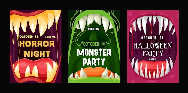 Halloweenowe ulotki wektorowe z ustami potworów