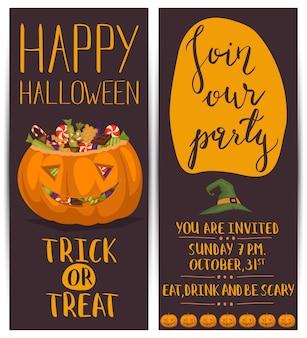 Halloweenowe ulotki z przerażającą dynią
