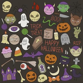 Halloweenowe wakacje święta doodle clipart