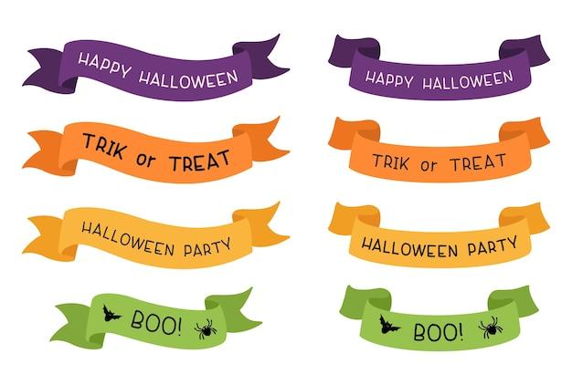 Halloweenowe wstążki z zestawem typografii. happy halloween, trick or treat, halloween party i boo