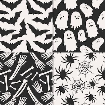 Halloweenowe wzory ręcznie rysowane projekt