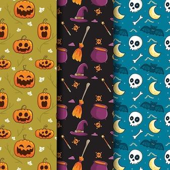 Halloweenowe wzory ręcznie rysowane stylu