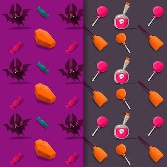 Halloweenowe wzory w stylu przypominającym akwarele