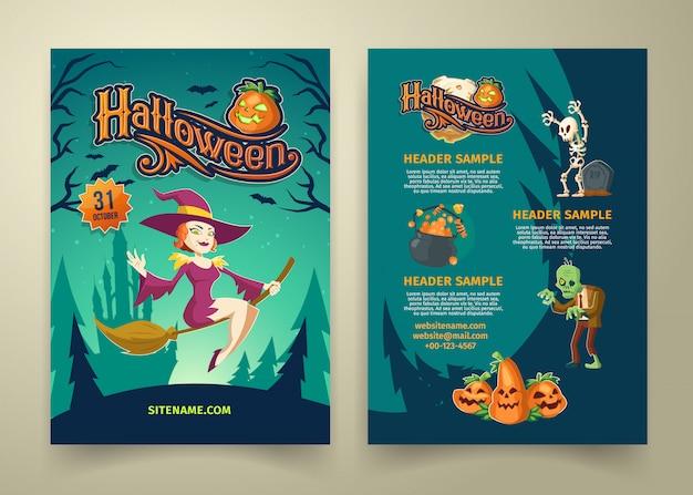 Halloweenowe zaproszenie na liście. szablon broszury z nagłówkami.