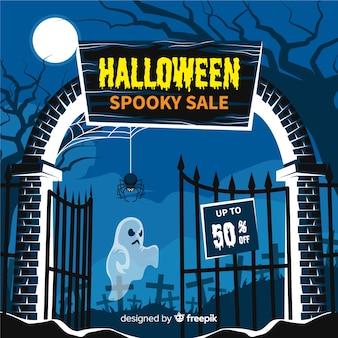 Halloweenowego sprzedaży tła płaski projekt