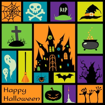 Halloweenowi elementy w kolorowych kwadratach