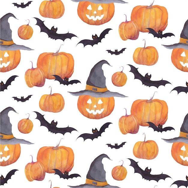 Halloweenowy akwarela wzór z baniami