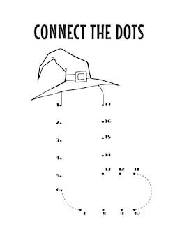 Halloweenowy alfabet kropka-kropka arkusz dla dzieci