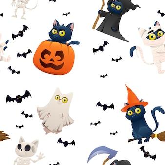 Halloweenowy backgraund z postaciami kotów