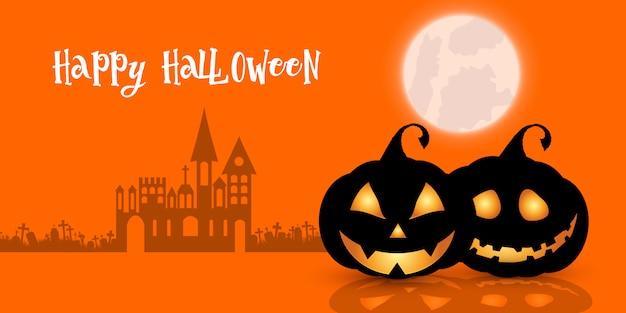 Halloweenowy backgrund z dyniami i upiornym nawiedzonym domem