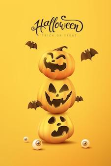 Halloweenowy baner lub tło zaproszenia na przyjęcie z dyniowymi śmiesznymi twarzami