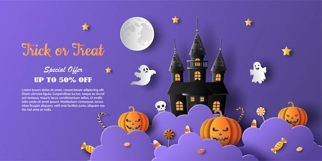 Halloweenowy baner promocyjny z ofertą rabatową na specjalną okazję.