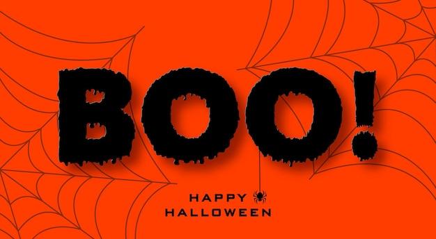 Halloweenowy baner w stylu cięcia papieru czarny tekst na pomarańczowym tle z pajęczynami i pająkiem