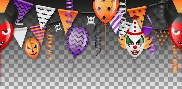 Halloweenowy bezszwowy baner z balonów, proporczyków i serpentyn