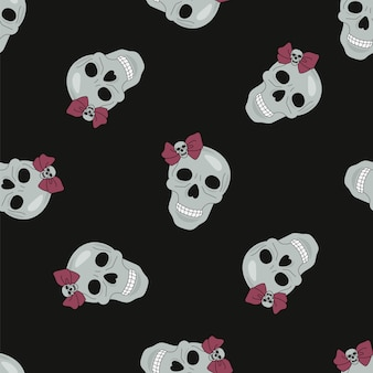 Halloweenowy bezszwowy czarny czaszki