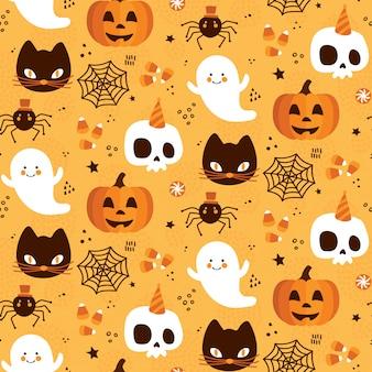 Halloweenowy bezszwowy deseniowy tło