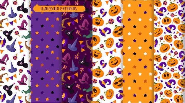 Halloweenowy bezszwowy wzór, emoji dynie, kapelusz czarownic, cukierki, przerażające postacie