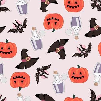 Halloweenowy bezszwowy wzór pumpkin i bat