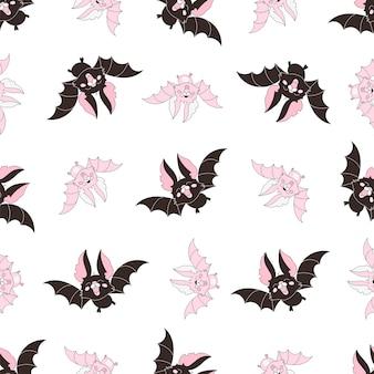 Halloweenowy bezszwowy wzór różowy bat