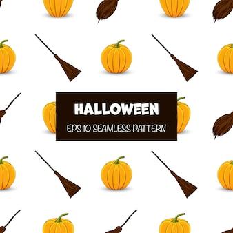 Halloweenowy bezszwowy wzór z baniami i miotłami. styl kreskówkowy.