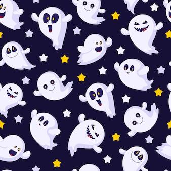 Halloweenowy bezszwowy wzór z emoji duchami, gwiazdami, śmiesznymi postaciami