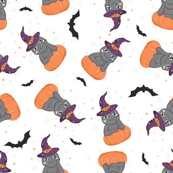 Halloweenowy bezszwowy wzór z kotem i banią.