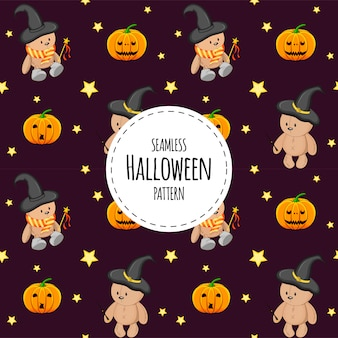 Halloweenowy bezszwowy wzór z misiami. styl kreskówkowy.