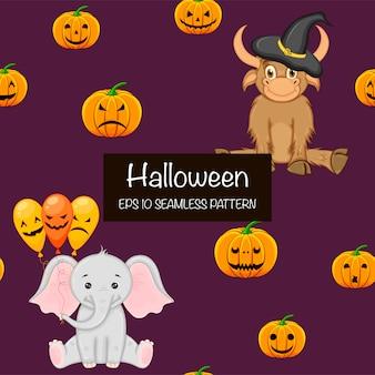 Halloweenowy bezszwowy wzór z ślicznymi zwierzętami. styl kreskówkowy.