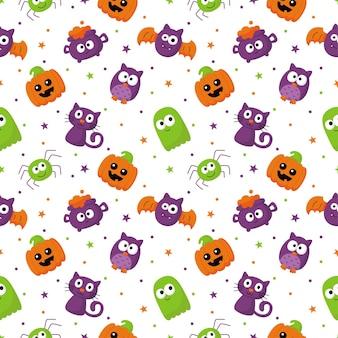 Halloweenowy bezszwowy wzór z śmiesznym upiornym na białym tle